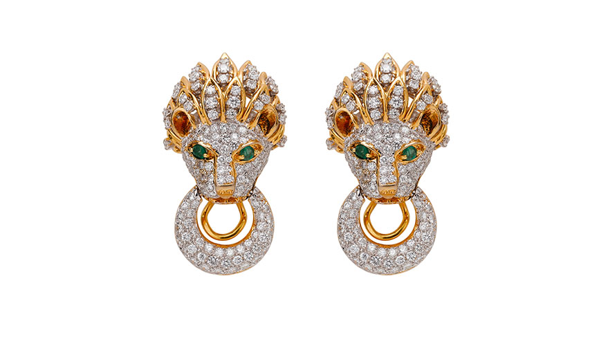 18k Lion's Head Earrings with Diamonds and Emeralds